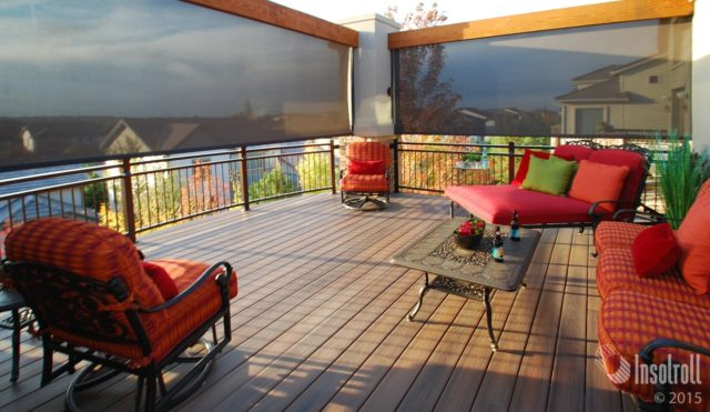 Oasis 2800 Patio shades from Insolroll open deck installation