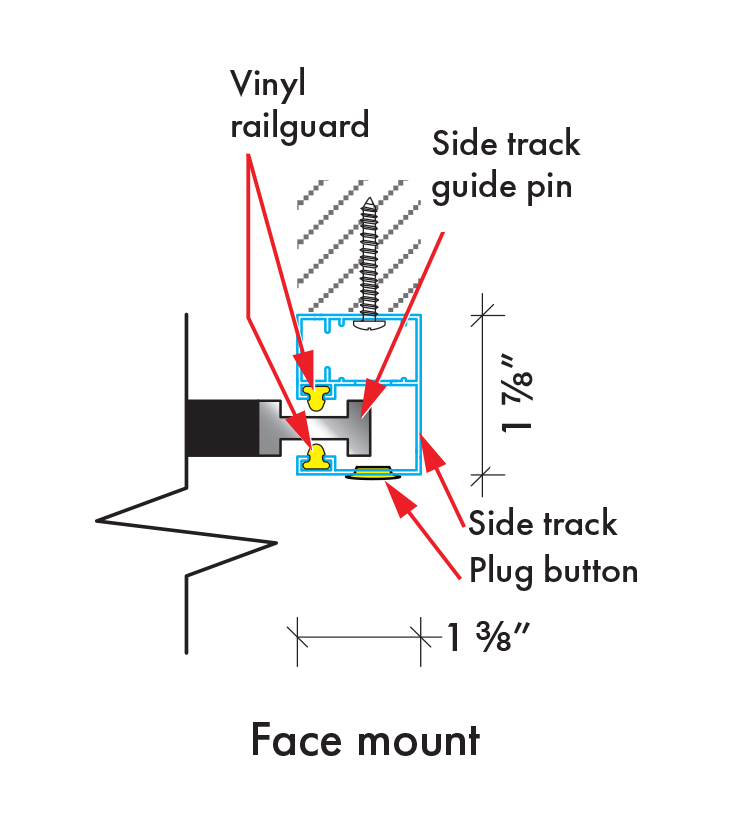Insolroll sidetrack face mount installation diagram